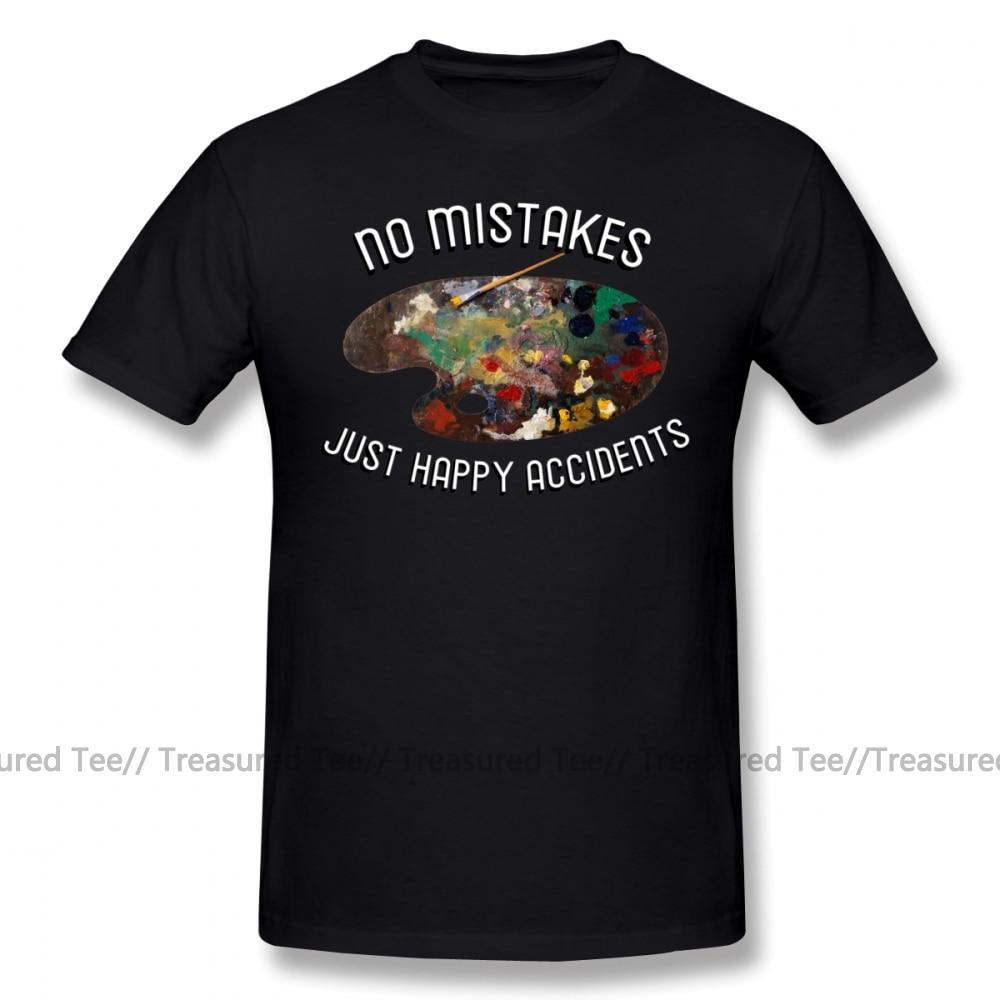 Bob Ross Men/'s KO Vintage TV Painter Grey T-Shirt Size Medium No Mistakes Happy