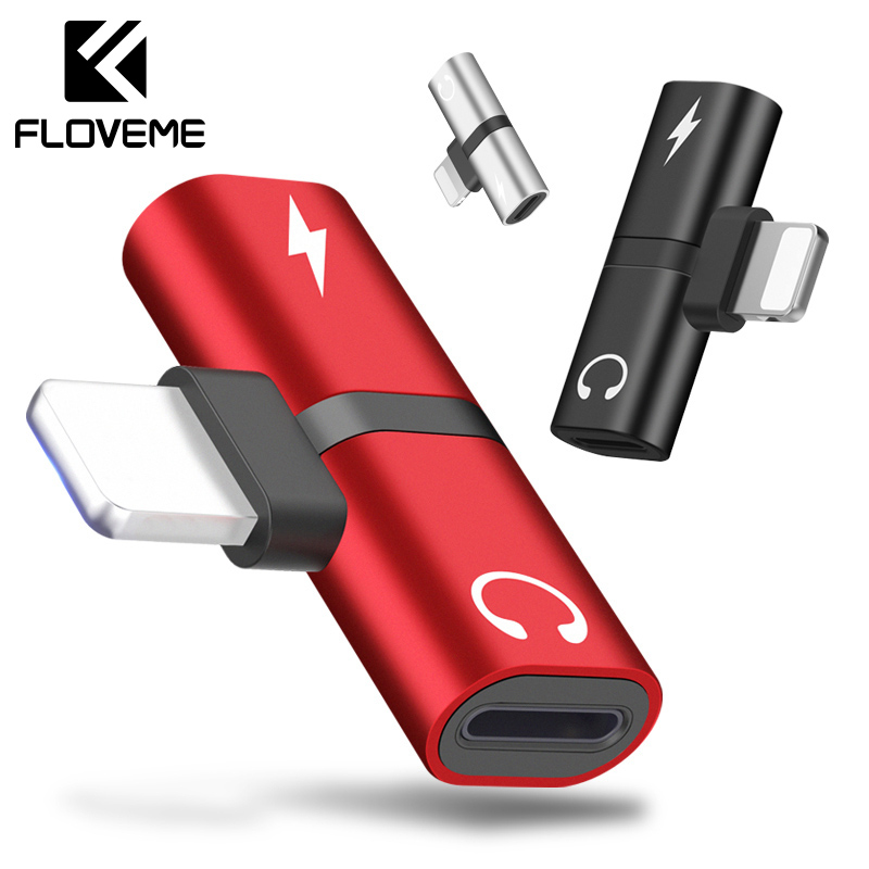FLOVEME OTG Audio Adapter For IPhone X Adaptador Charging Audio USB Adapter For IPhone 7 Plus Charger Lighting Earphone Splitter