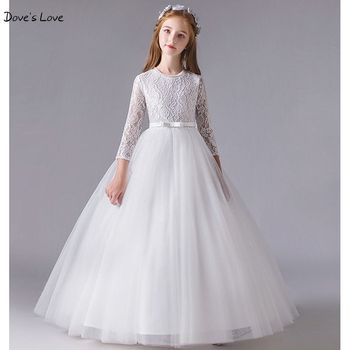 White Ivory Flower Girl Dresses 2020 Lace Tulle Ball Gown Long 3/4 Three Quarter Sleeve O Neck First Communion Dresses Kids TUTU 2017 new flower girl dresses long sleeves o neck back sheer tulle ball gown kids prom evening party communion dresses vestidos