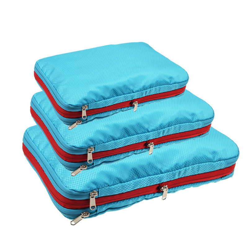 Double Layer Compression Packing Cubes Travel Luggage Organizer Waterproof Packing Cubes 7 Colors Large Medium And Small 3 Sets