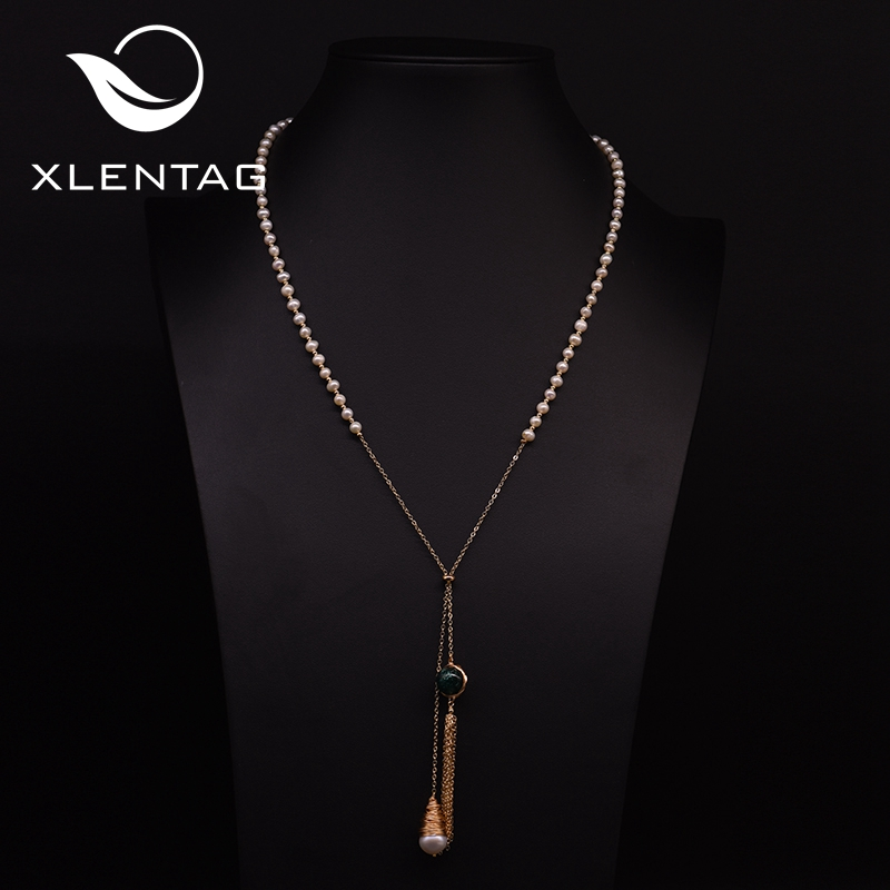 Xlentag Natural Freshwater Pearl Adjustable Tassel Long Pendant Necklace For Women Wedding Sweater Chain Luxury Jewelry GN0182
