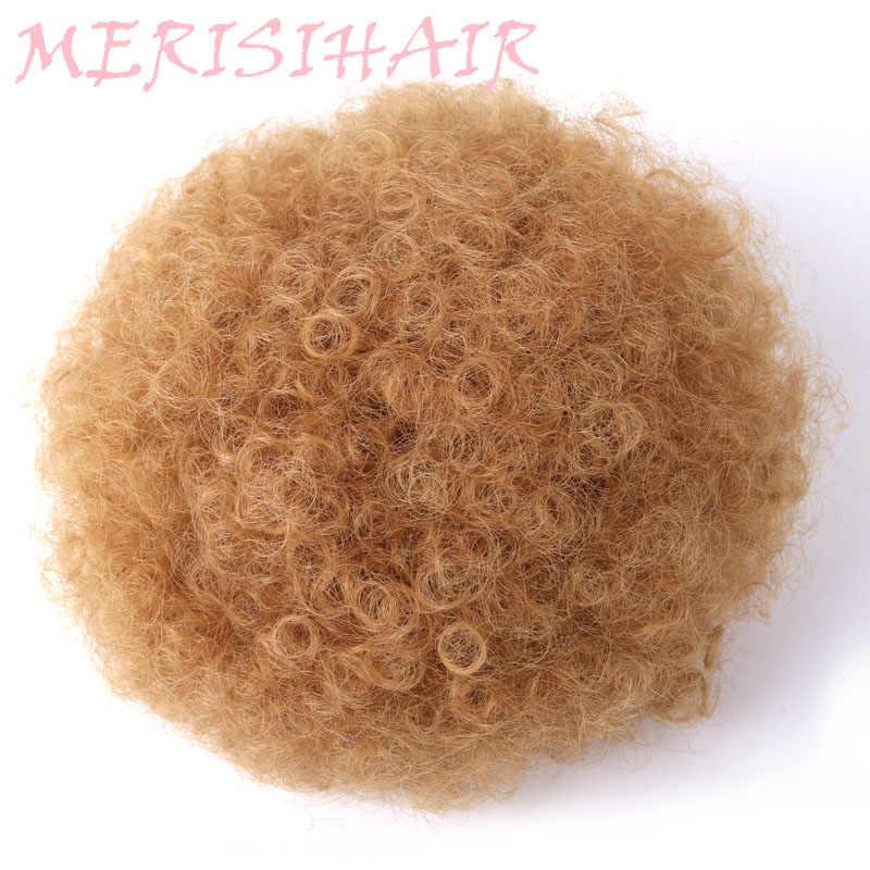 Wysoka Puff Afro peruka z lokami kucyk sznurkiem krótki afro perwersyjne koński ogon klip w na syntetyczne kręcone włosy kok wykonane z Kanekalon