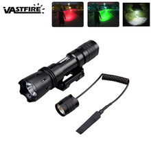Tactical Green/Red/White LED Hunting Flashlight Rail Mounted Torch 219 Yard  Weapon Light with Remote Pressure Switch No Battery стоимость
