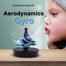 Gyroscope pneumatique, jouet de décompression, Gyro, soufflage de vent coloré