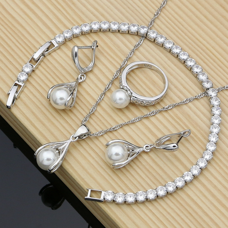 Simple Pearl Costume Jewelry Sets 925 Silver Jewelry Kits Wedding Bridal Stones Bracelet Rings Set Her