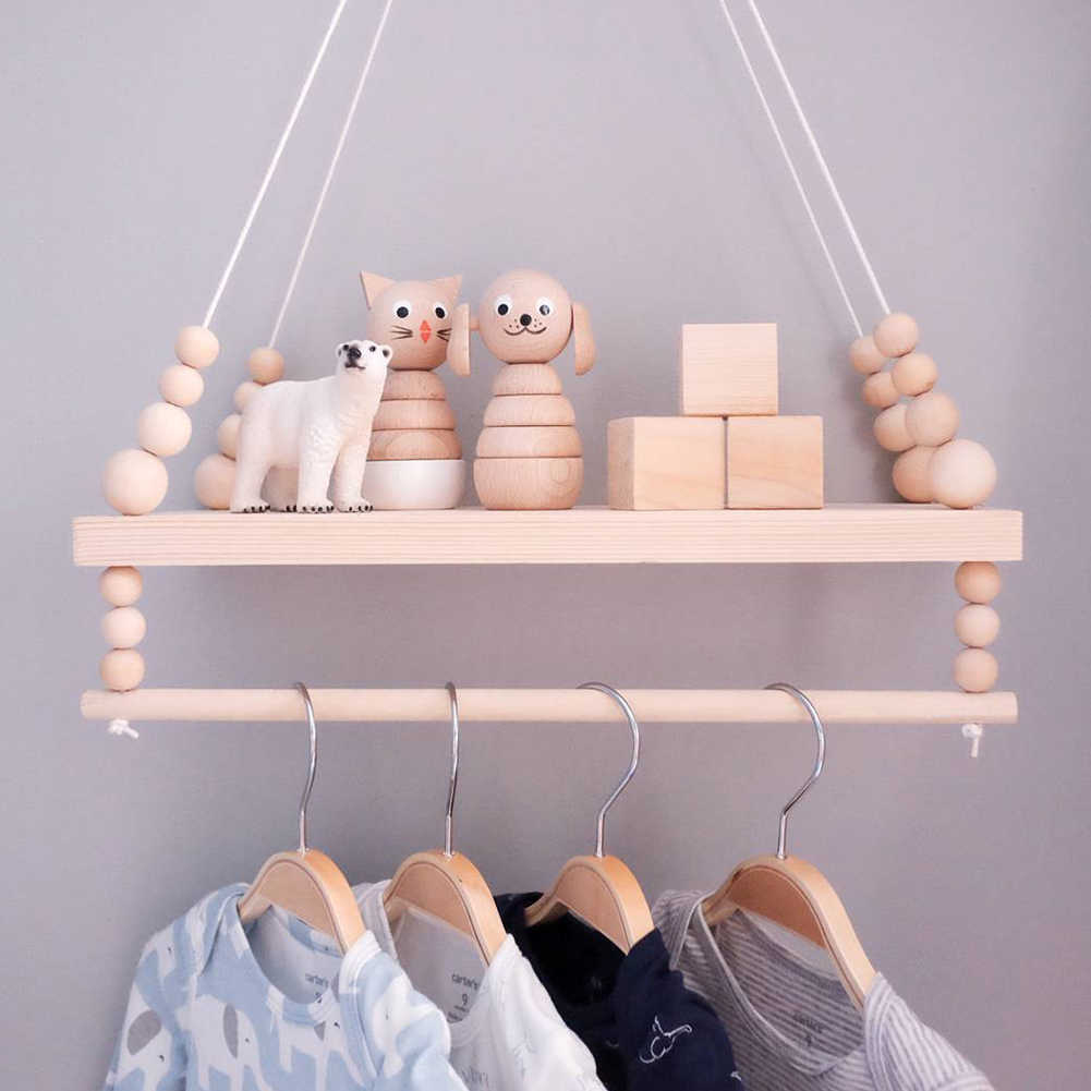 Double Deck ของขวัญเสื้อผ้าห้องนั่งเล่น Nordic แขวนผนังชั้นวางของไม้จัดเก็บเด็กห้องพักตกแต่งลูกปัด