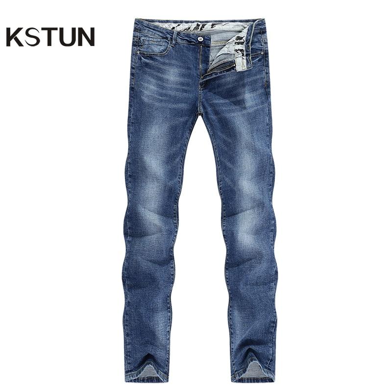 KSTUN Mens Denim Jeans Light Blue 2020 Spring Business Casual Straight Slim Stretch Streetwear Denim Pants Cowboys High Quality