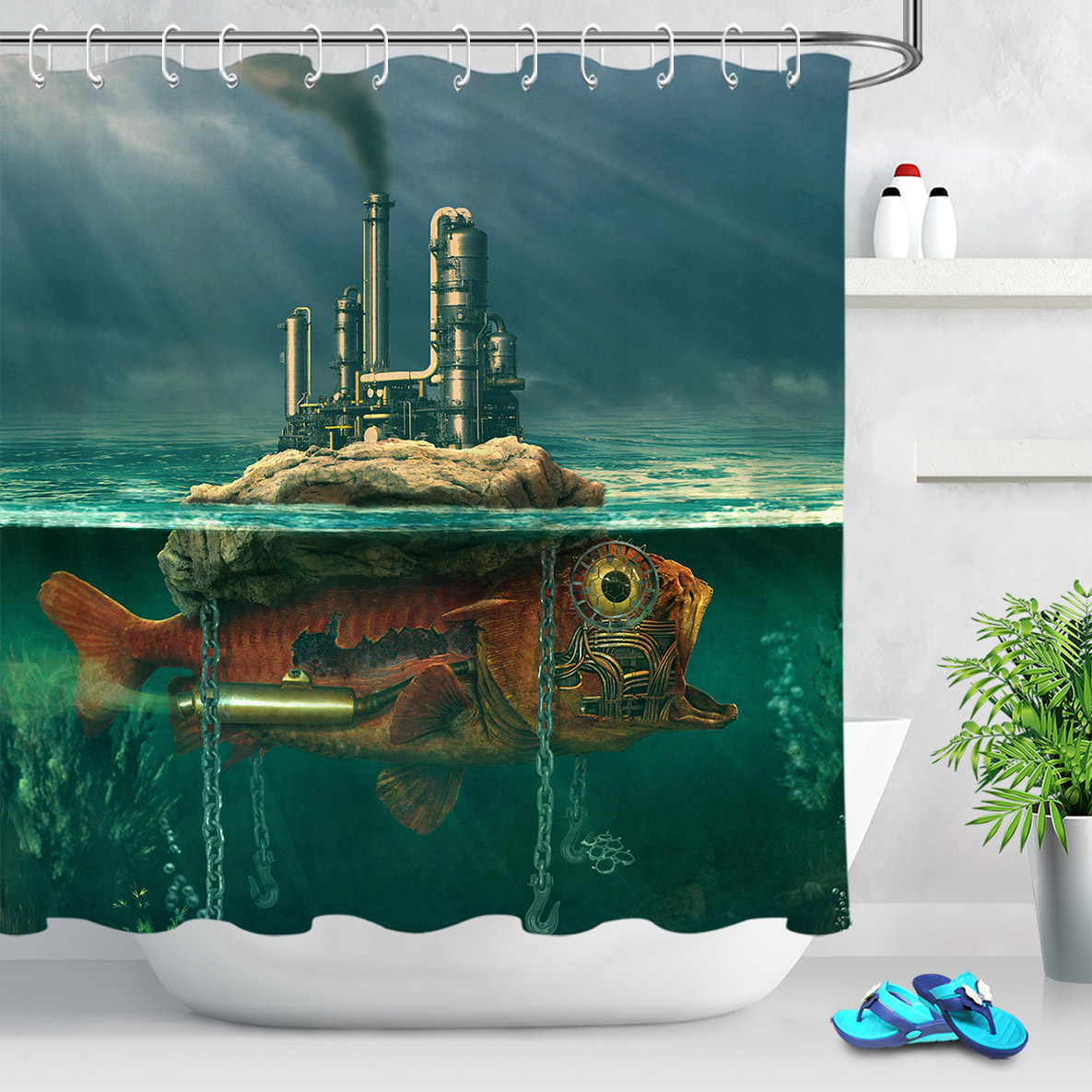 2020 Retro Steampunk Mechanical Fish Shower Curtain For Bathroom Art Decor Creative Underwater Life Waterproof Fabric Shower Curtains From Narciss 26 02 Dhgate Com
