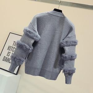 Image 3 - Chic Rabbit  Fur Patchwork Warm Knitted Jacket Jersey For Women Zipper Design Sweaters Cardigan New Elegant Female Knitting Coat