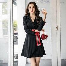 цена Autumn Winter Black Dress Women with Bow Contrast Solid Office Dress Women Long Sleeve A-line Mini Blazer Dress Plus Size Jurken