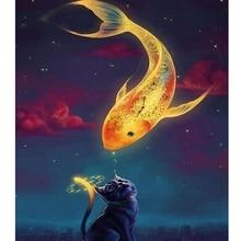 5D DIY Алмазная картина полная квадратная дрель кошка и вышивка в виде рыбы для украшения стен 25X30 см(Сомик