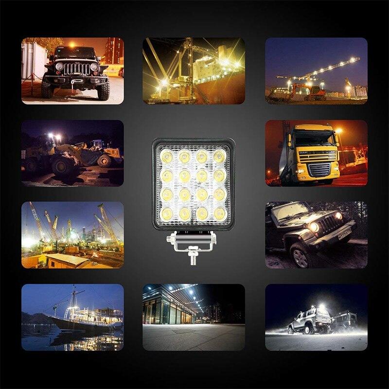OKEEN Mini 16LED 27W 48W LED Work Light Bar Square Spotlight 12V 24V Offroad LED Light Bar For Truck Offroad 4X4 4WD Car SUV ATV 6