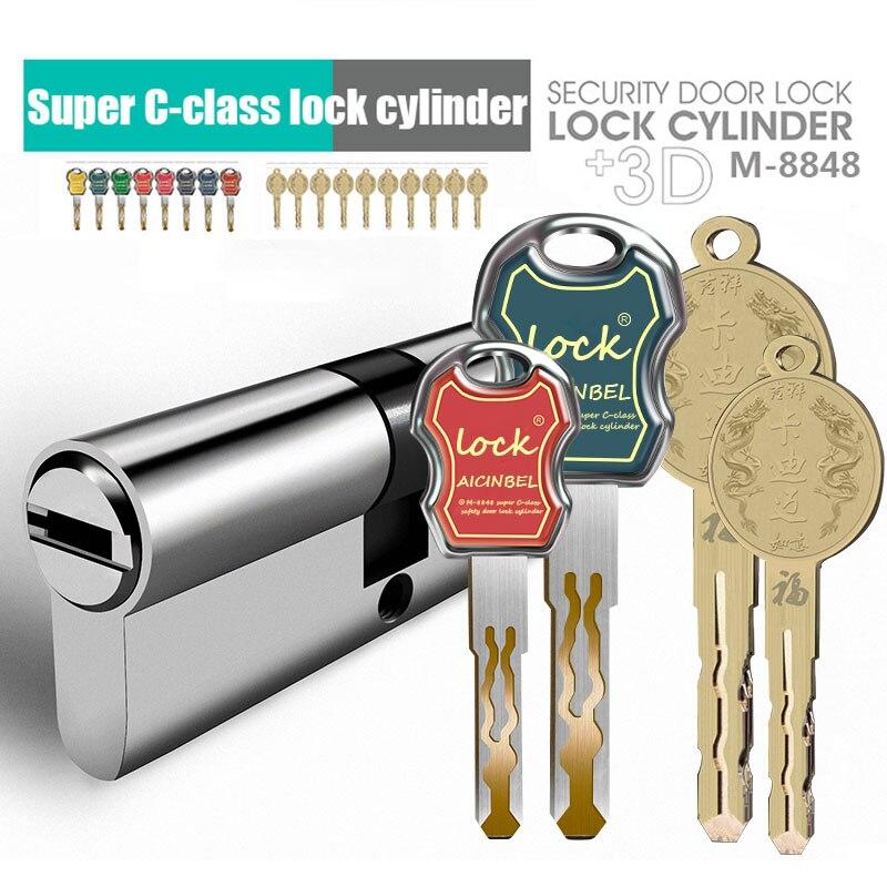 European Standard Anti-theft Door Lock   304 Stainless Steel Lock Core Gate Lock Cylinder Entrance Lock Cylinders