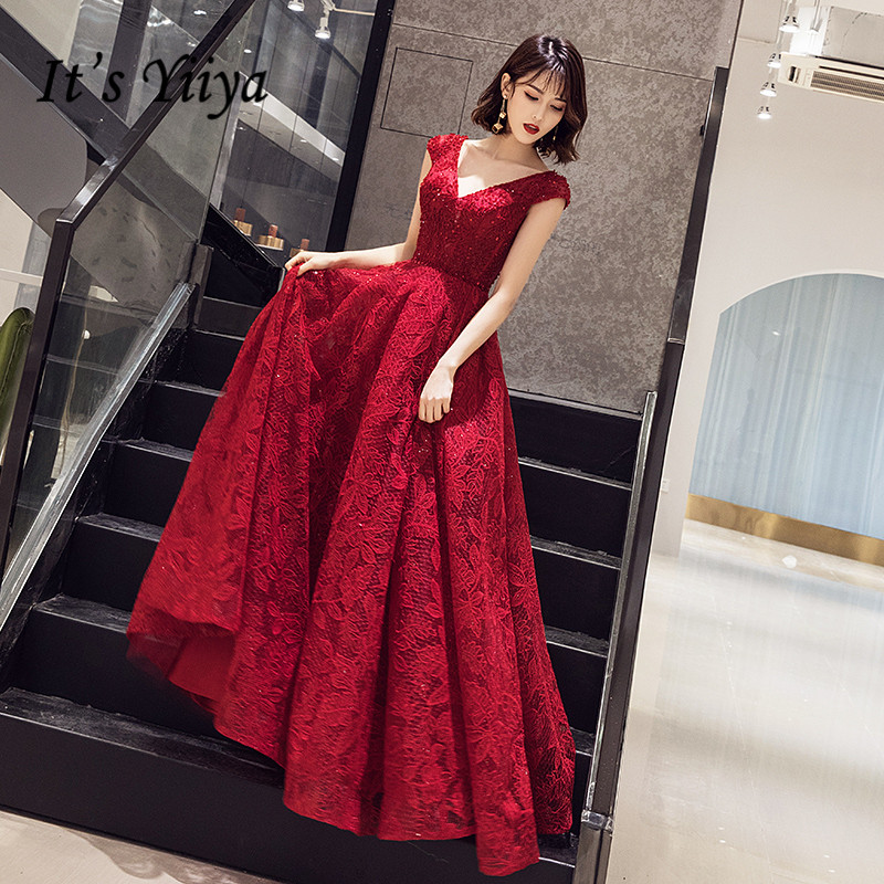 It's Yiiya Evening Dress Burgundy V-neck Long Evening Dresses Plus Size Formal Gowns 2020 Sleeveless Robe De Soiree LF147
