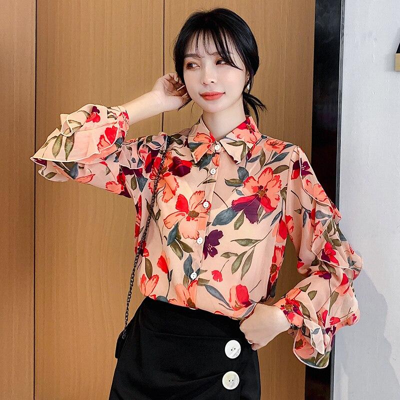 Women Shirt Blouse Long Sleeve Floral Chiffon Female Autumn Tops Blusas 2019 Shirts