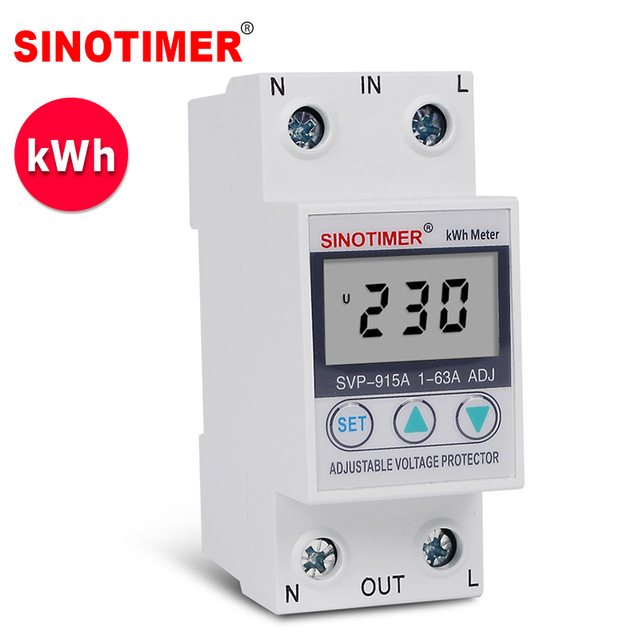 63A 220V Din Rail Adjustable Voltage Protector Relay Current Limit Protection with Wattmeter kWh Energy Meter Power Consumption