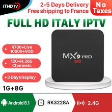 IPTV Italy Arabic Portugal France IP TV MX9Pro Android 8.1 1G+8G ITHDTV Italian Turkey Qatar Box