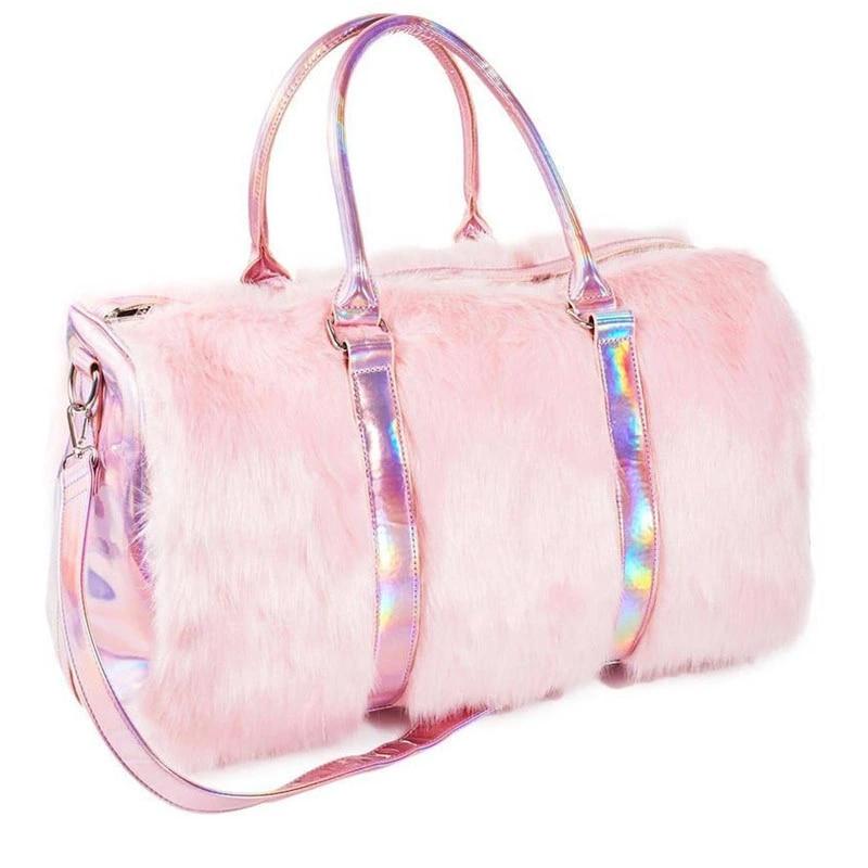 Mode luxe femmes fourre-tout en peluche rose sacs à main mignon fille voyage grande capacité Laser sac à bandoulière bagages organisateur fourre-tout