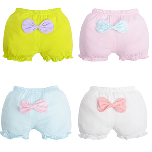 4pcs/Lot Girls Cotton Boxer Briefs cute bows pantie green pink and white kids underwear little girls knickers 1-7years