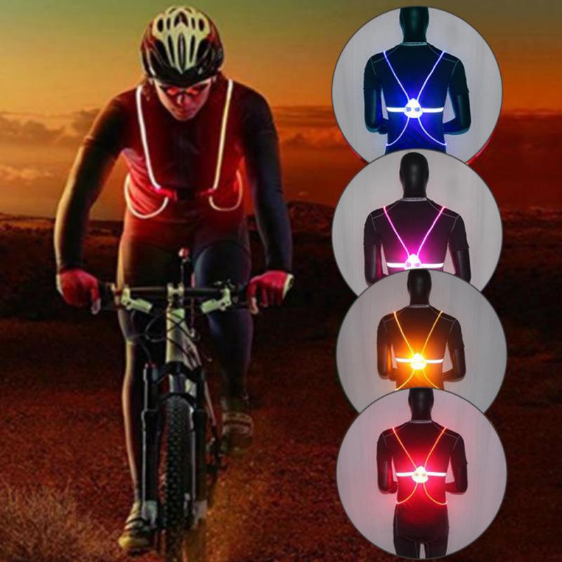 LED Running Cycling Vest Reflective Safety Vest High Visibility Adjustable Strap