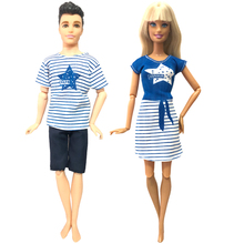 Couple Doll-Accessories Ken Doll Casual-Wear Girls Cloth for Barbie Boys Kids Toy 12''