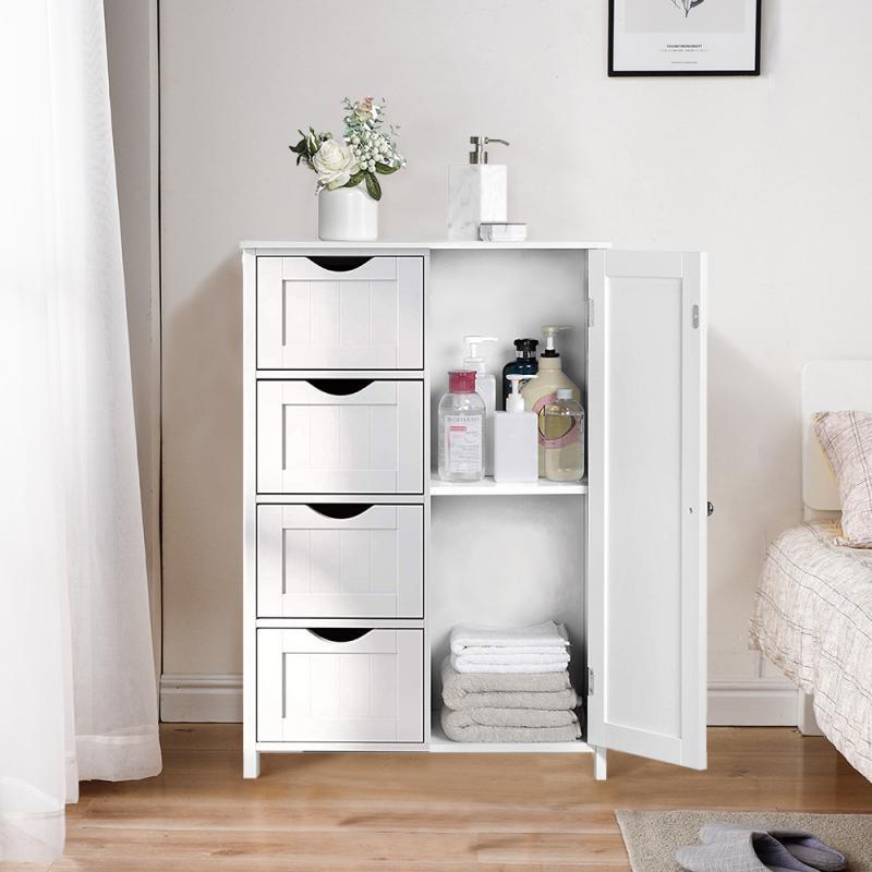 White Modern Nightstands Floor Standing 4 Drawer 1 Door Bedroom Storage Cabinet Sundries Storage Cabinet 60*30*80cm HWC