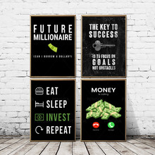 Papel dinheiro chave comida investir quadros em tela casa decoração modular fotos moderno impresso cartaz para sala de estar arte da parede sem moldura