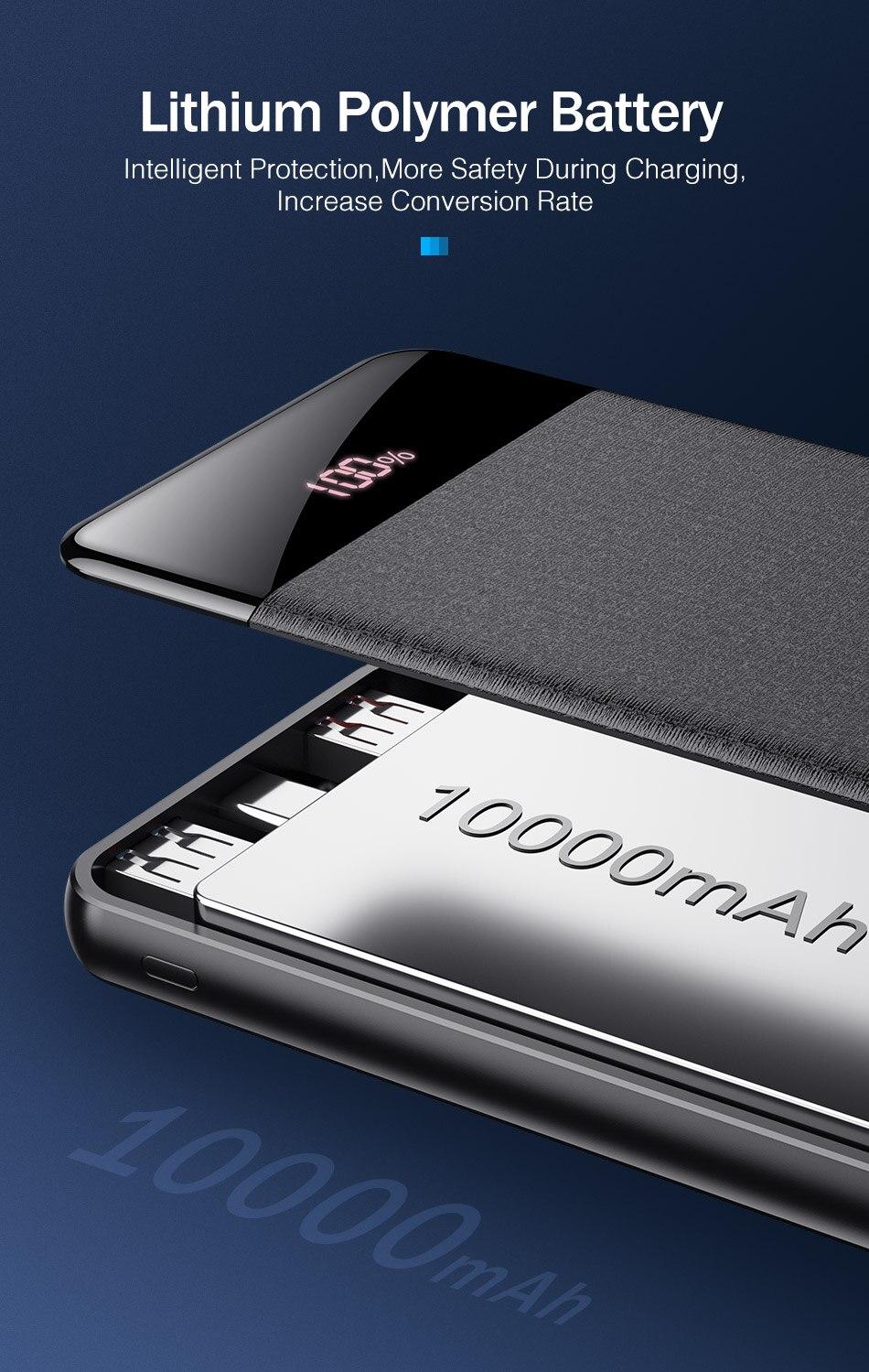 YKZ QC 3,0 внешний аккумулятор 10000 мАч светодиодный портативный аккумулятор PD Быстрая зарядка 12 В внешний аккумулятор для iPhone Xiaomi Mi с USB