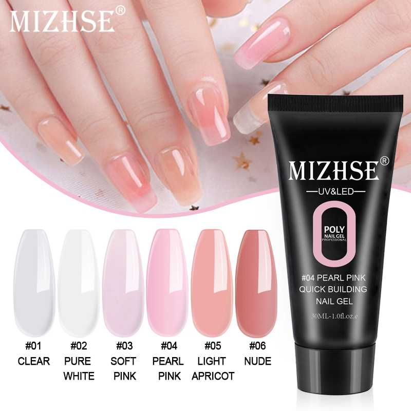 Mizhse Polygel Nail Acryl Poly Gel Roze Wit Clear Crystal Uv Led Quick Extension Gel Acryl Builder Jelly Uv Nail poly Gel