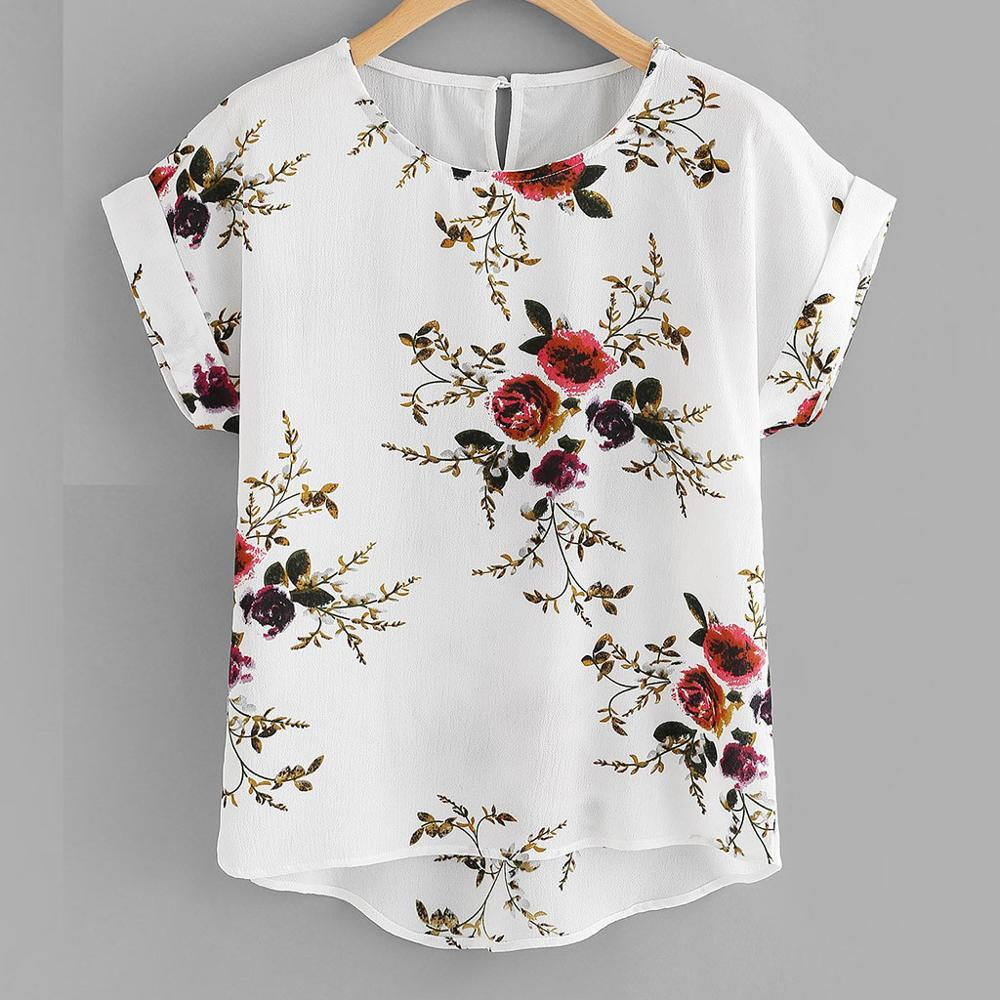 Summer Fashion Floral Print Blouse Pullover Ladies O-Neck Tee Tops Female Women's Short Sleeve Shirt Blusas Femininas Clothing(China)
