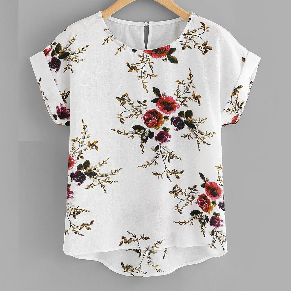 Summer Fashion Floral Print Blouse Pullover Ladies O-Neck Tee Tops Female Women's Short Sleeve Shirt Blusas Femininas Clothing(China)