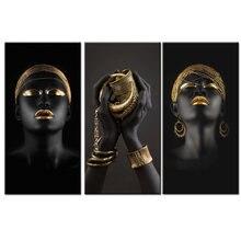 Африканская женщина держит золотые ювелирные изделия холст настенные