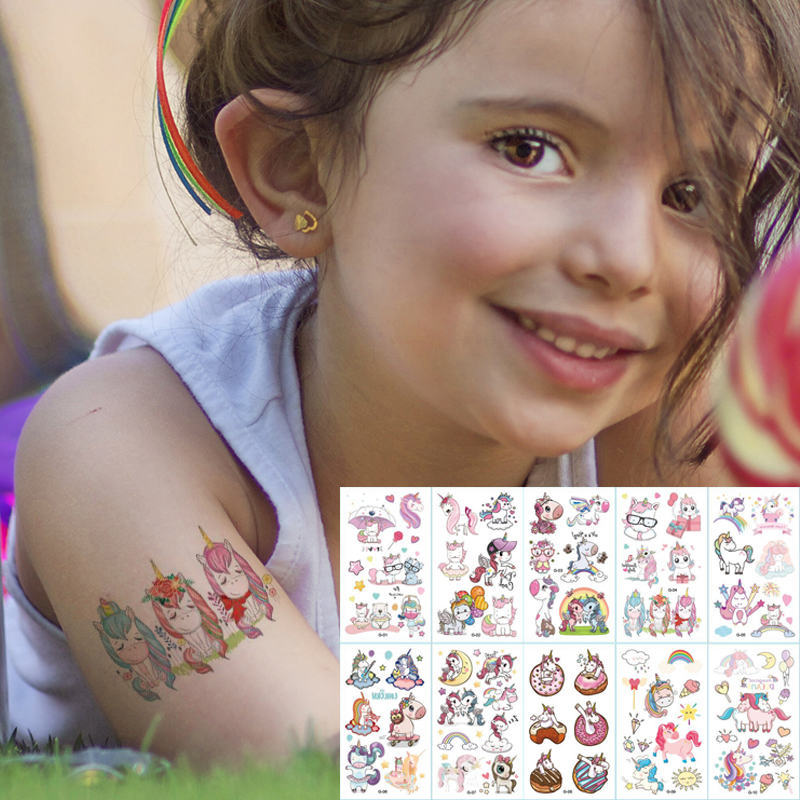 10pcs/lot Color Unicorn Tattoo Set Face Temporary Tattoo Child Tattoo Sticker Body Tatoo For Kids Cute Tattoo Children Tattoos