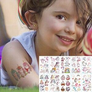 10pcs/lot color unicorn tattoo set face temporary tattoo child tattoo sticker body tatoo for kids cute tattoo children tattoos(China)