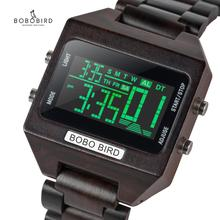BOBO BIRD 4 สีจอแสดงผล LED ดิจิตอลนาฬิกาผู้ชาย Multifunction สัปดาห์หยุดนาฬิกาไม้นาฬิกาไม้ของขวัญกล่อง OEM drop Shipping