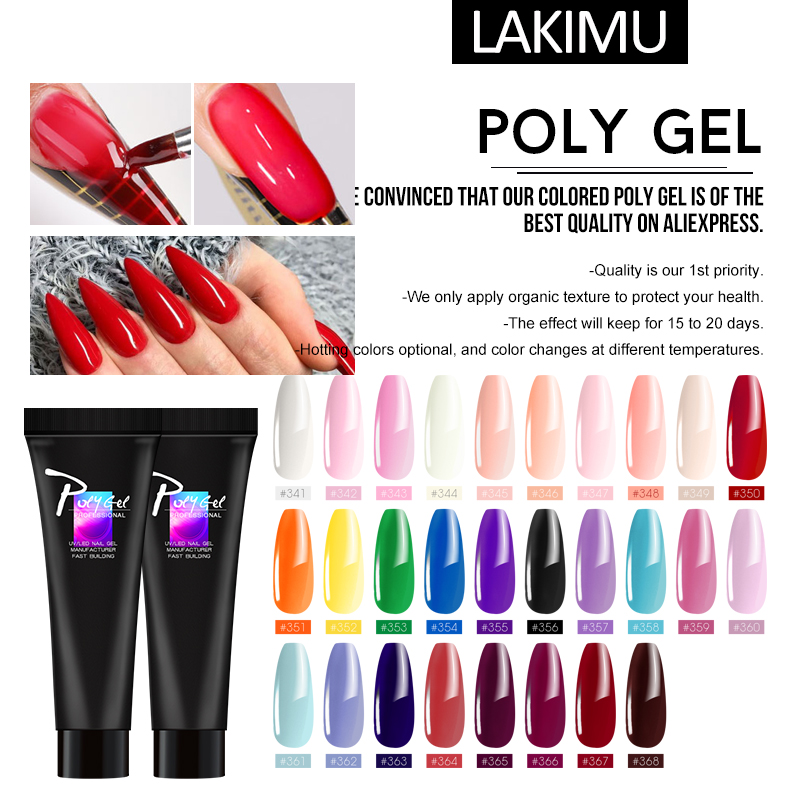 LIKIMU Extension Building Acrylic Poly Gel Color Extension Glue Thermal Polygel Polish Nails UV LED Quick Builder Gel Nail Art