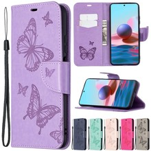 Butterfly Embossed Wallet Case For Xiaomi Redmi Note10/10S/10Pro/10Pro Max/9 Pro/8T 6A 7 7A 8A 9A 9C K20 K30S Mi Poco M3/X3 Nfc