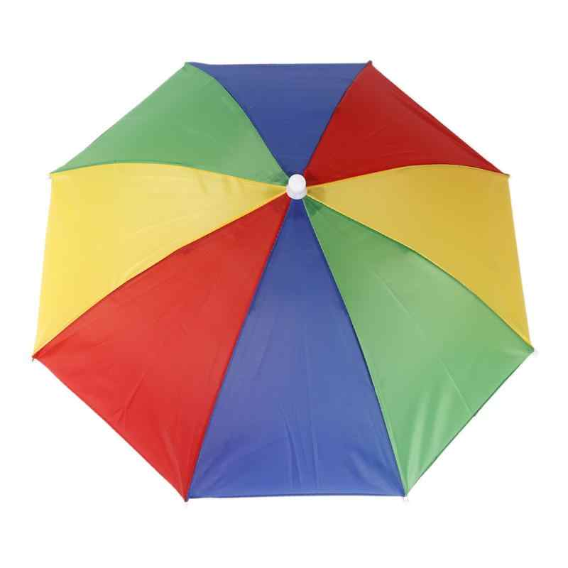 55 سنتيمتر أغطية الرأس طوي مظلة مكافحة الأشعة فوق البنفسجية مكافحة المطر قبعة مظلة المحمولة الصيد التنزه التخييم في الهواء الطلق رئيس مظلة المطر والعتاد