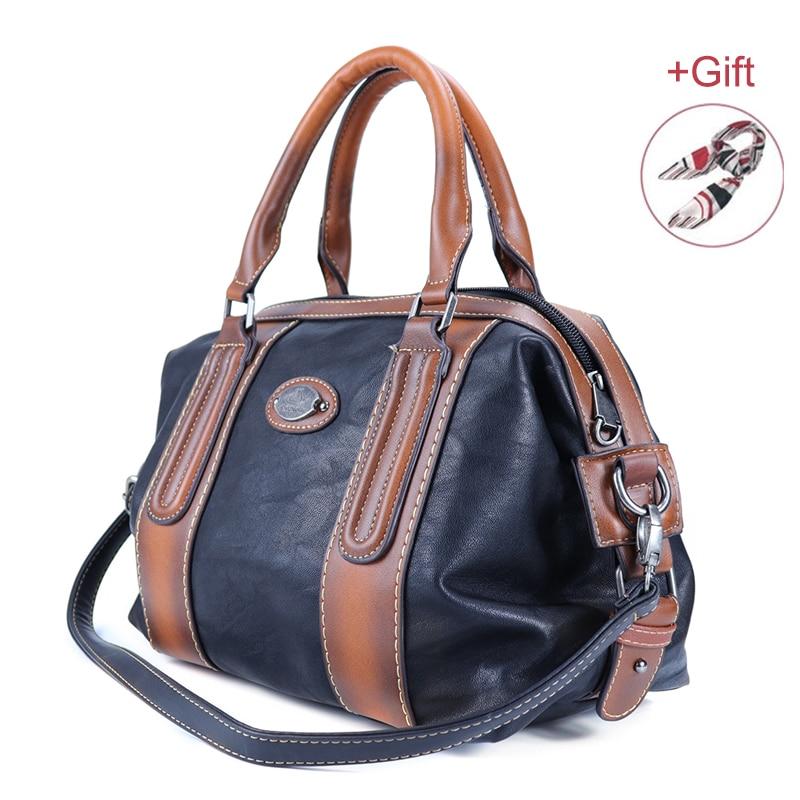 New Ladies Genuine Leather Shoulder Bag Large Capacity Vintage Women's Handbags Luxury Design Women Business Trip Big Tote Bags-in Top-Handle Bags from Luggage & Bags