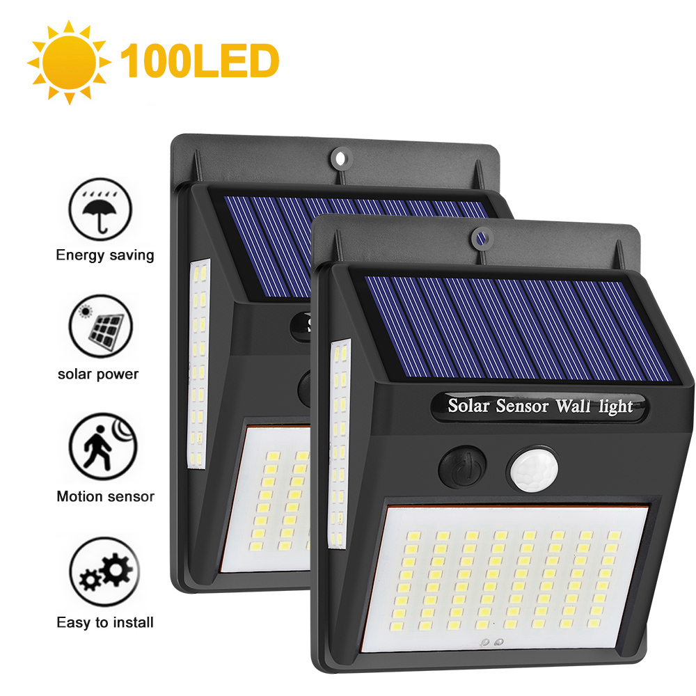 SNEWVIE 100 LED Solar Light Outdoor Solar Lamp PIR Motion Sensor Wall Light Waterproof Solar Powered Sunlight