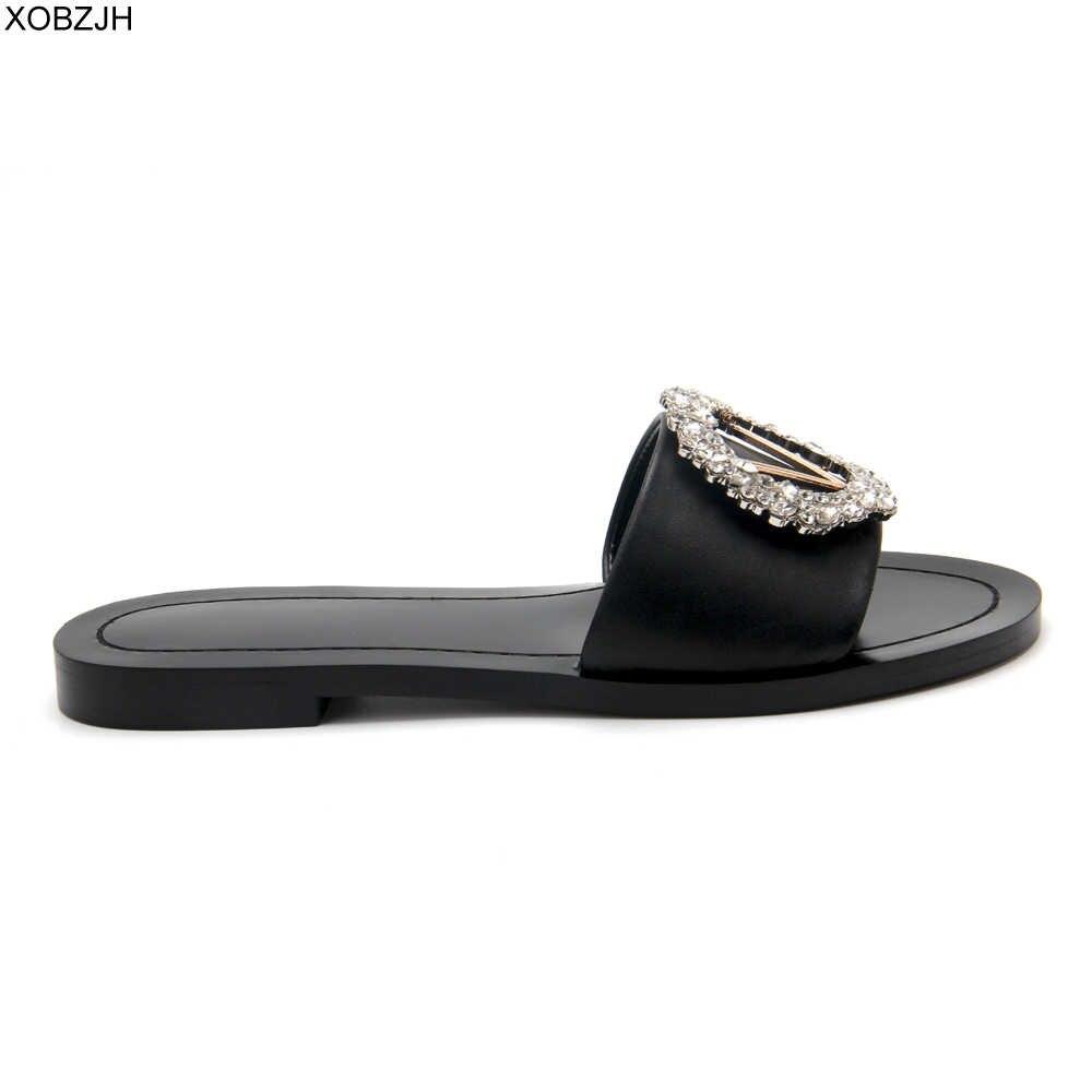 Tasarımcı slaytlar siyah katır ayakkabı terlik kadın sandalet lüks 2019 ayakkabı kadın bayanlar yaz hakiki deri düz terlik abd 11