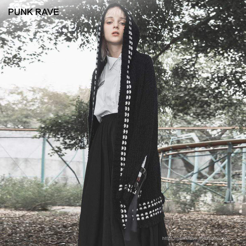 Панк рейв девушка черный гранж горошек узор Повседневная трикотажная Harajuku Толстовка с капюшоном длинные пальто уличная одежда