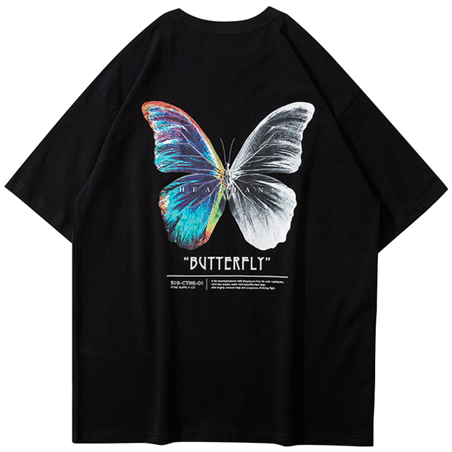 Unisex Oversize Hip Hop Cotton T-Shirt Harajuku Tee Streetwear Casual Clothes For Men Women Color Butterfly Short Sleeve Tops 1
