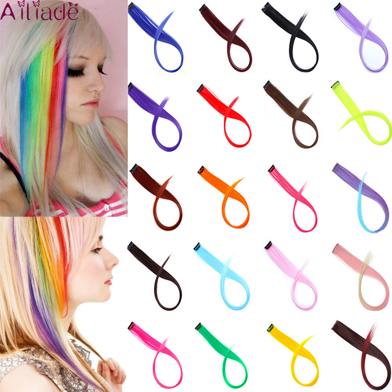 AILIADE Colored Hair Strands Heat Resistant Synthetic Hair Extensions Clips In One Piece Ombre Fake Straight Rainbow Hair Pieces