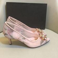 New arrival women's pink floral print pointed toe high heeled shoes Fashion crystal sweet high heels women party shoes BY723 босоножки no pink crystal high heeled princess shoes