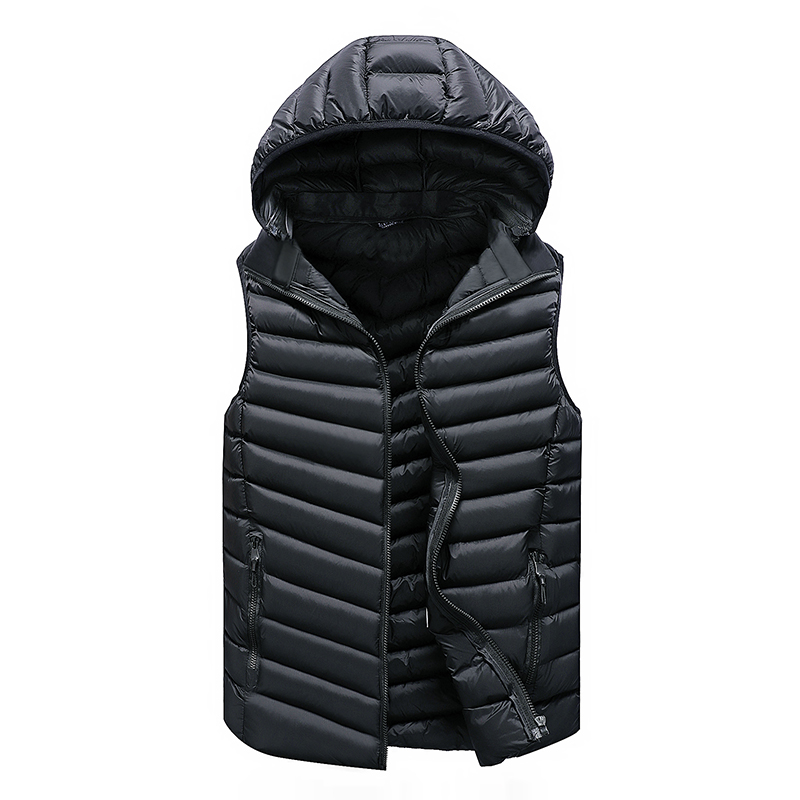 Vest Men Solid Men's Winter Jacket Warm Men's Outerwear Waistcoat Casual Vest For Men Hooded Jacket Man Sleeveless Men's Vest