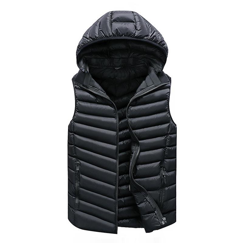 Vest Men Solid Men's Winter Jacket Warm Men's Outerwear Waistcoat Casual Vest For Men Hooded Jacket Man Sleeveless Men's Vest