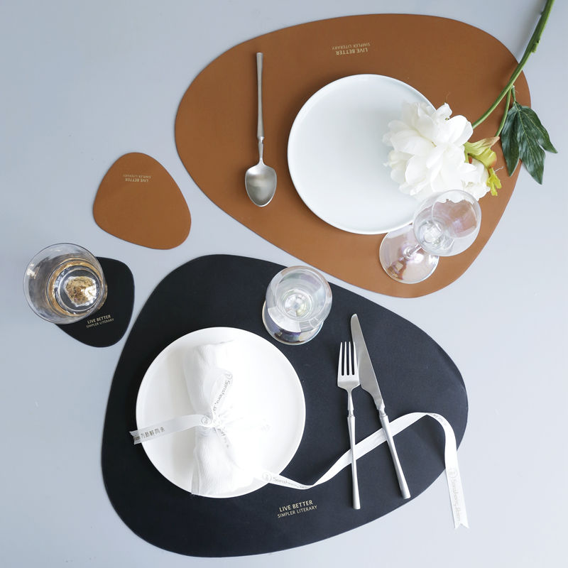 Dining Table Mat Pad PU Leather Heat Insulation Oilproof Non-Slip Placemats Bowl Cup Coaster Drying Kitchen Accesories