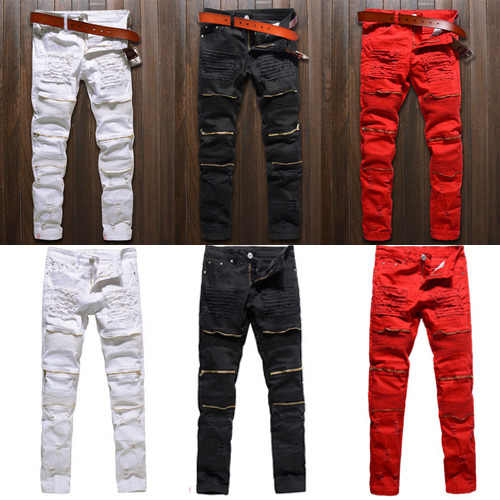 Mannen Skinny Stretch Denim Ripped Broek Verontruste Ripped Freyed Slim Fit Jeans Vernietigd Ripped Jeans Zwart Wit Rood Jeans
