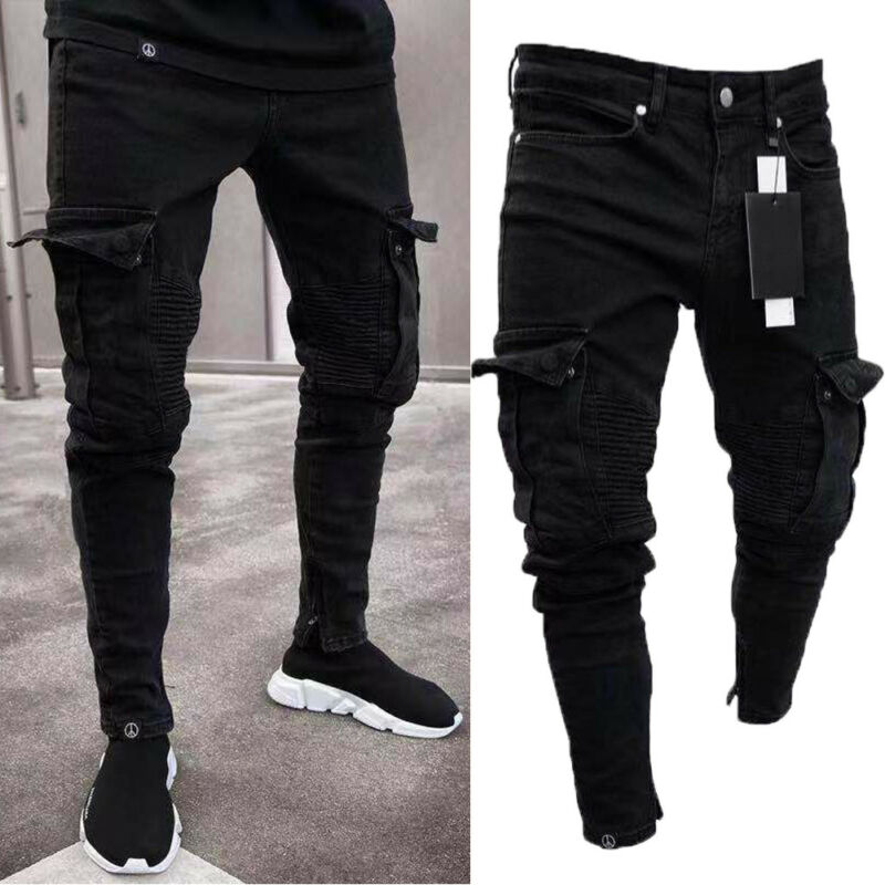 Goocheer Long Pencil Pants Ripped Jeans Slim Spring Hole Men's Fashion Thin Skinny Jeans Men Hiphop Trousers Clothes Clothing